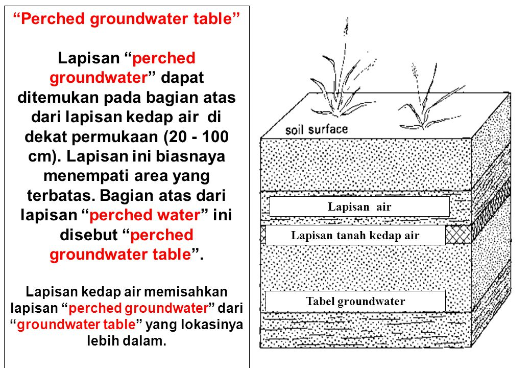 Perched groundwater table Lapisan tanah kedap air