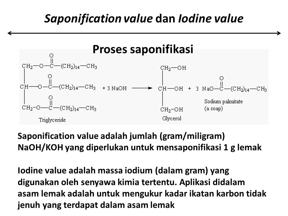 Saponification value dan Iodine value
