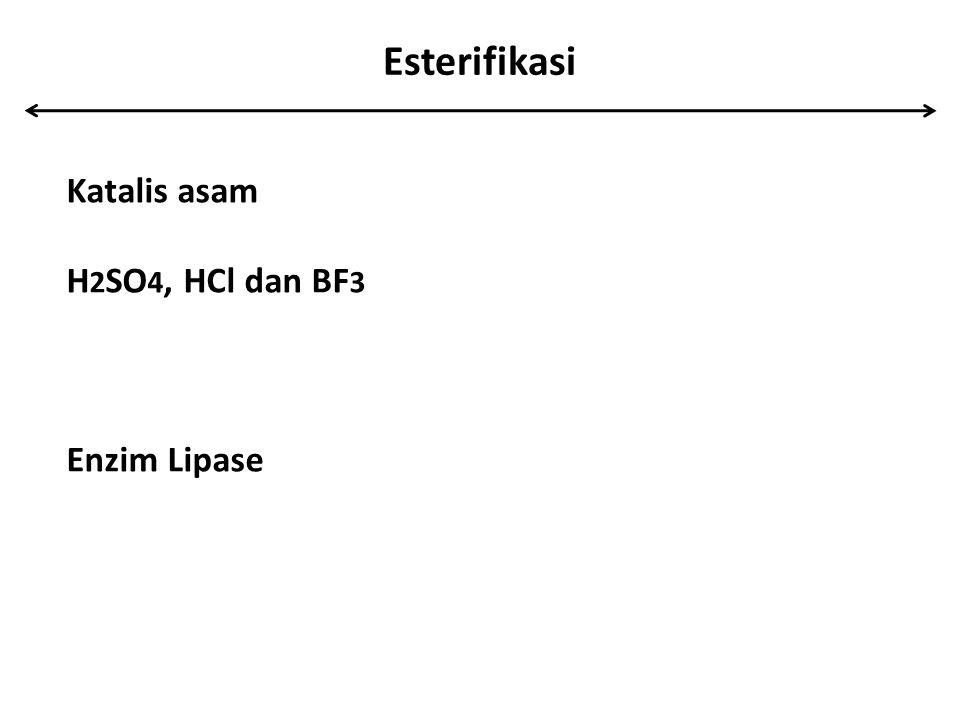 Esterifikasi Katalis asam H2SO4, HCl dan BF3 Enzim Lipase