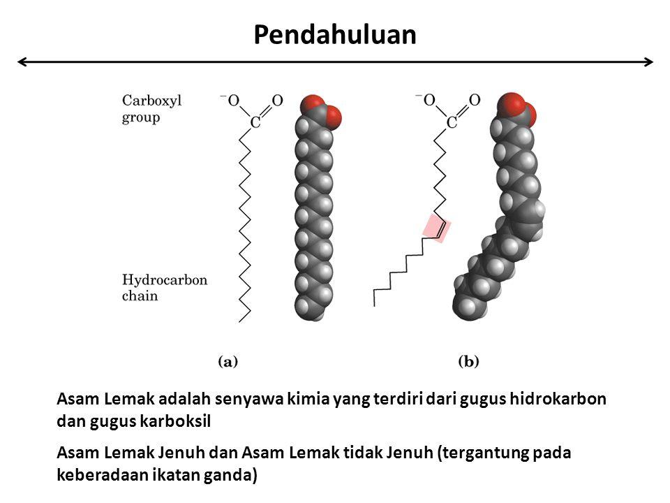 Pendahuluan Asam Lemak adalah senyawa kimia yang terdiri dari gugus hidrokarbon dan gugus karboksil.