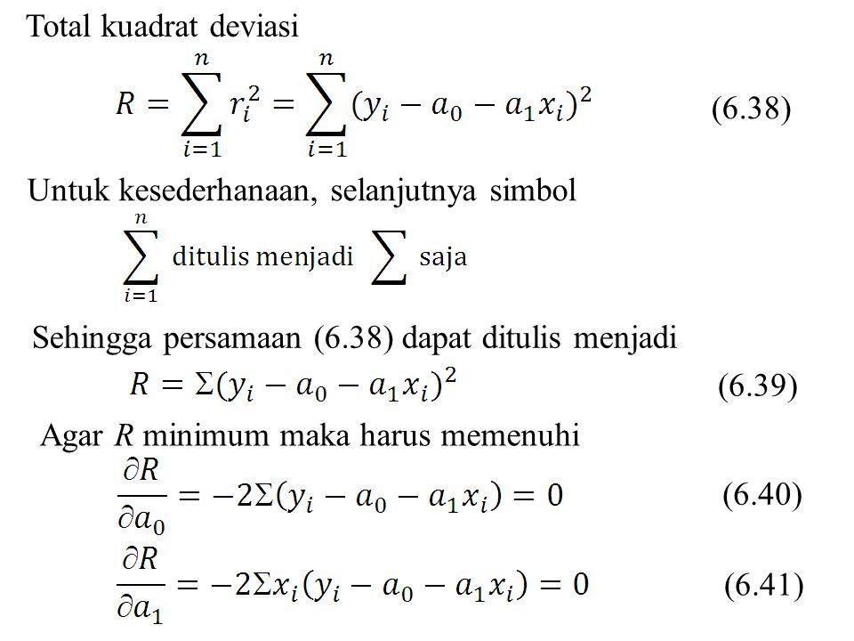 Total kuadrat deviasi (6.38) Untuk kesederhanaan, selanjutnya simbol. Sehingga persamaan (6.38) dapat ditulis menjadi.