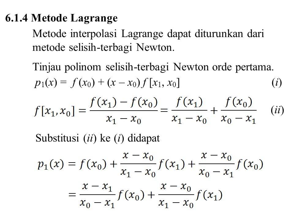 6.1.4 Metode Lagrange Metode interpolasi Lagrange dapat diturunkan dari metode selisih-terbagi Newton.