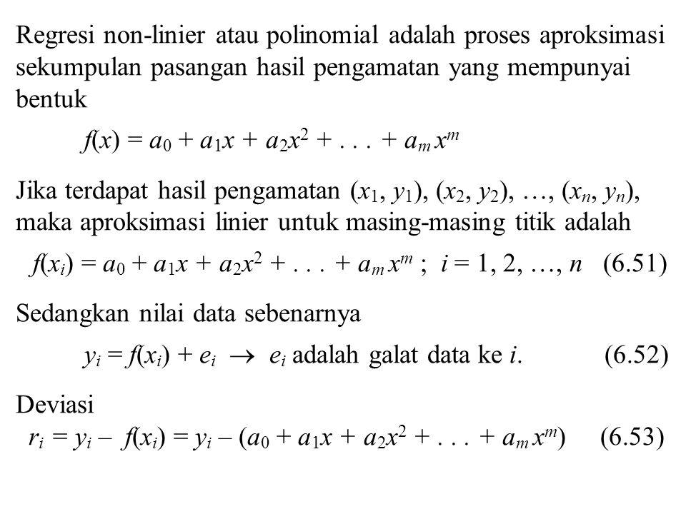 Regresi non-linier atau polinomial adalah proses aproksimasi sekumpulan pasangan hasil pengamatan yang mempunyai bentuk