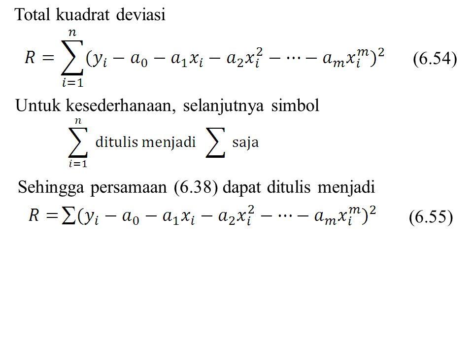 Total kuadrat deviasi (6.54) Untuk kesederhanaan, selanjutnya simbol. Sehingga persamaan (6.38) dapat ditulis menjadi.