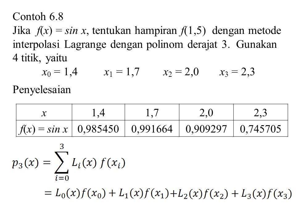 Contoh 6.8 Jika f(x) = sin x, tentukan hampiran f(1,5) dengan metode interpolasi Lagrange dengan polinom derajat 3. Gunakan 4 titik, yaitu.