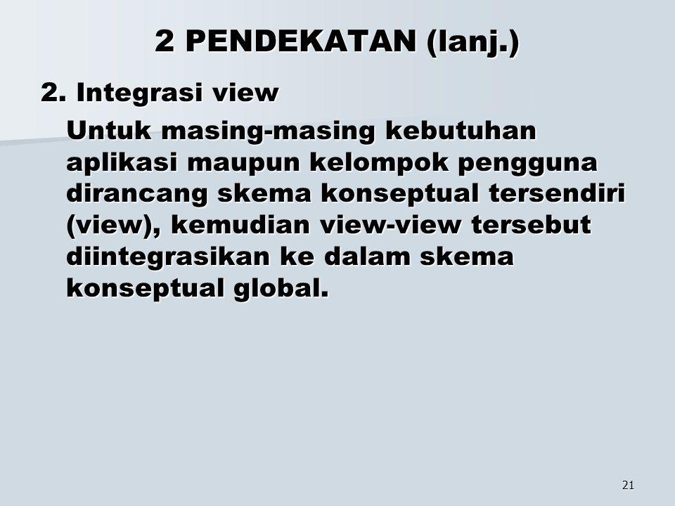 2 PENDEKATAN (lanj.) 2. Integrasi view