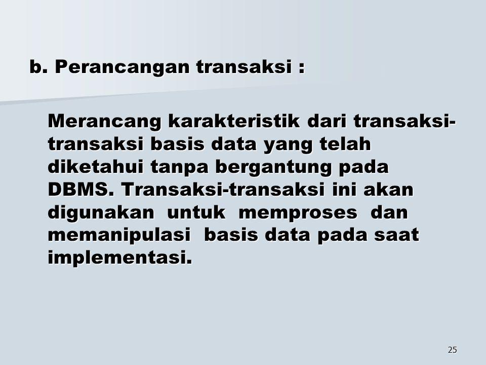 b. Perancangan transaksi :