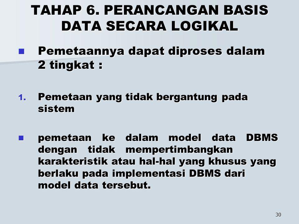 TAHAP 6. PERANCANGAN BASIS DATA SECARA LOGIKAL
