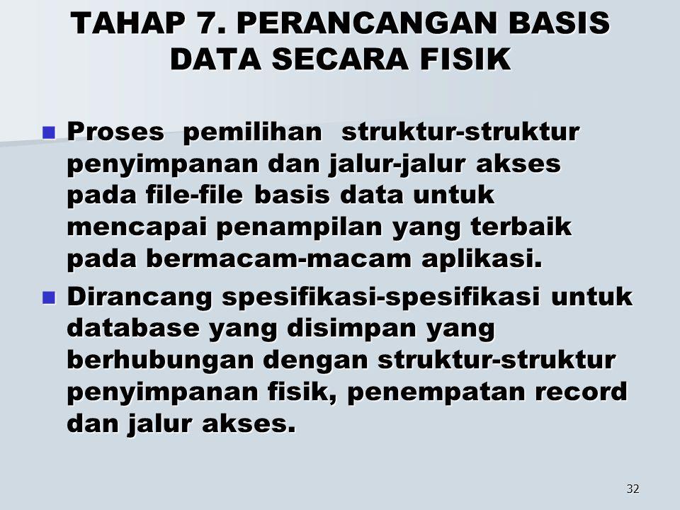 TAHAP 7. PERANCANGAN BASIS DATA SECARA FISIK