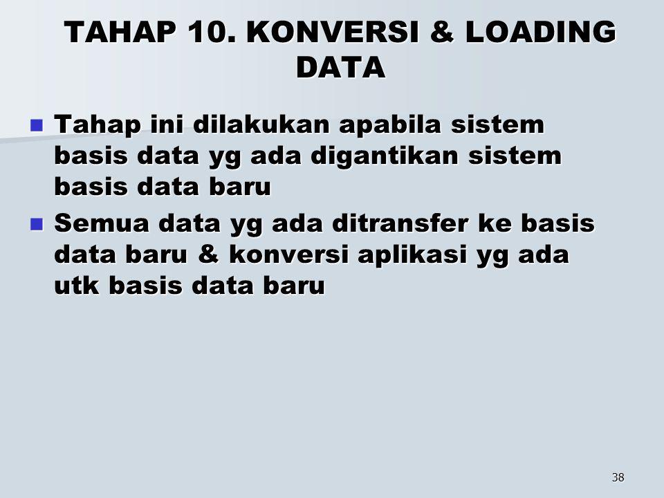 TAHAP 10. KONVERSI & LOADING DATA