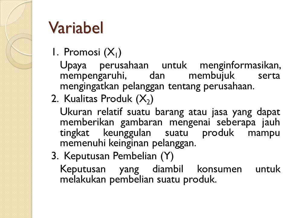 Variabel 1. Promosi (X1) Upaya perusahaan untuk menginformasikan, mempengaruhi, dan membujuk serta mengingatkan pelanggan tentang perusahaan.