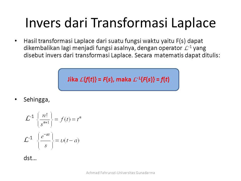 Invers dari Transformasi Laplace