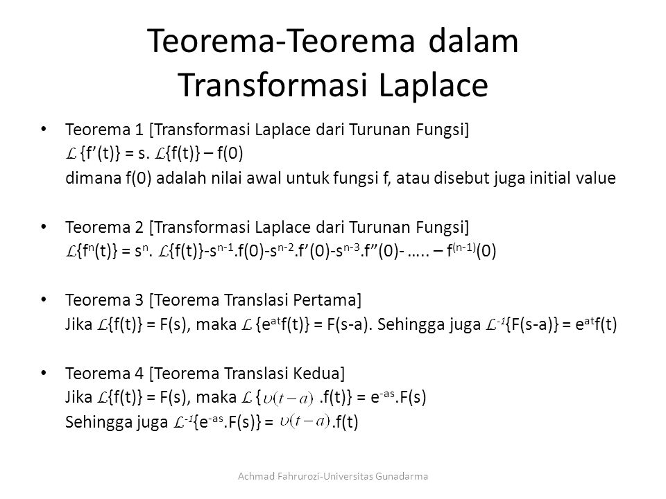 Teorema-Teorema dalam Transformasi Laplace