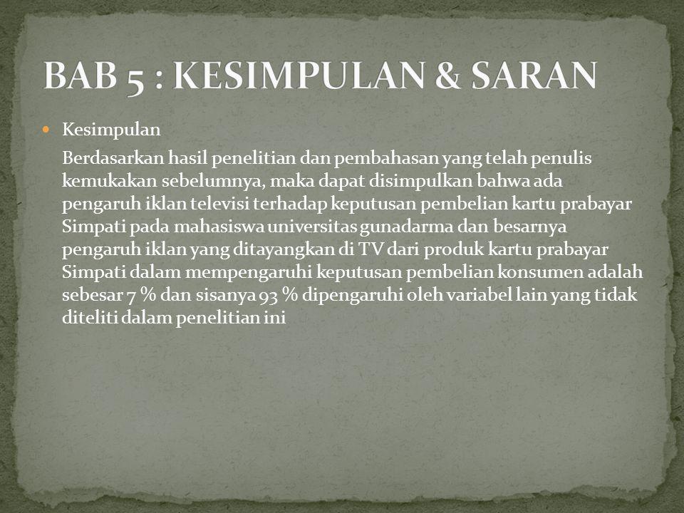 BAB 5 : KESIMPULAN & SARAN