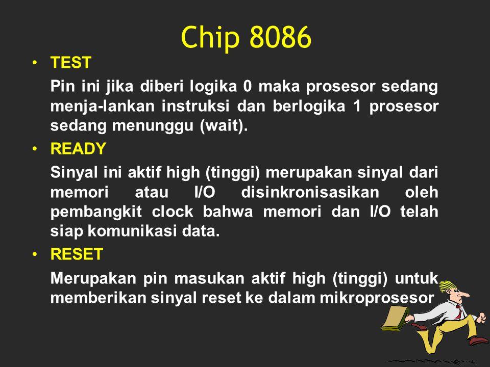 Chip 8086 TEST. Pin ini jika diberi logika 0 maka prosesor sedang menja-lankan instruksi dan berlogika 1 prosesor sedang menunggu (wait).