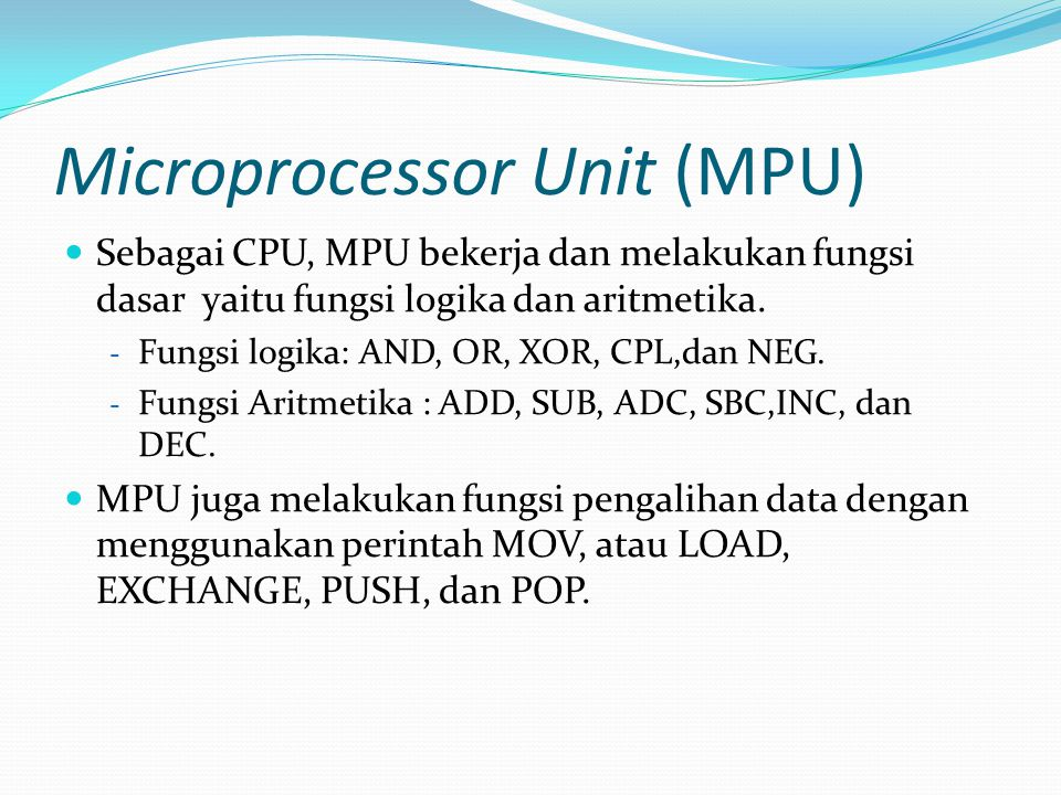 Microprocessor Unit (MPU)