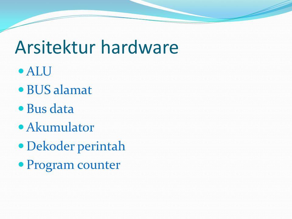 Arsitektur hardware ALU BUS alamat Bus data Akumulator
