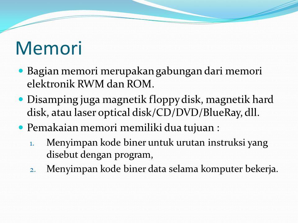 Memori Bagian memori merupakan gabungan dari memori elektronik RWM dan ROM.