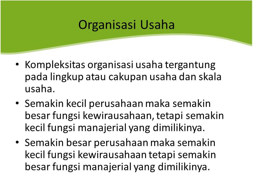 Organisasi Usaha Kompleksitas organisasi usaha tergantung pada lingkup atau cakupan usaha dan skala usaha.