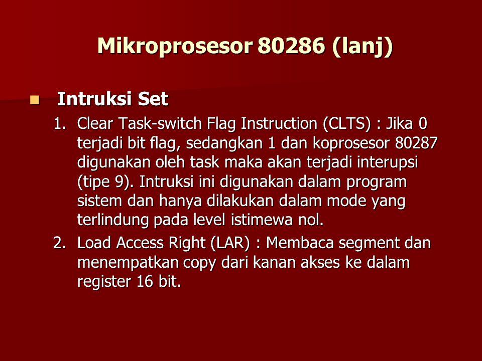 Mikroprosesor 80286 (lanj) Intruksi Set