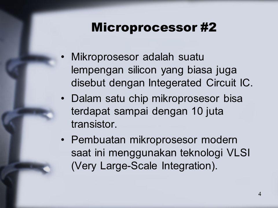 Microprocessor #2 Mikroprosesor adalah suatu lempengan silicon yang biasa juga disebut dengan Integerated Circuit IC.