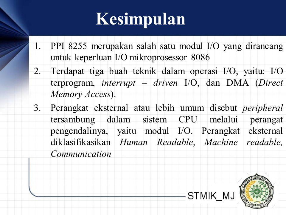 Kesimpulan PPI 8255 merupakan salah satu modul I/O yang dirancang untuk keperluan I/O mikroprosessor 8086.