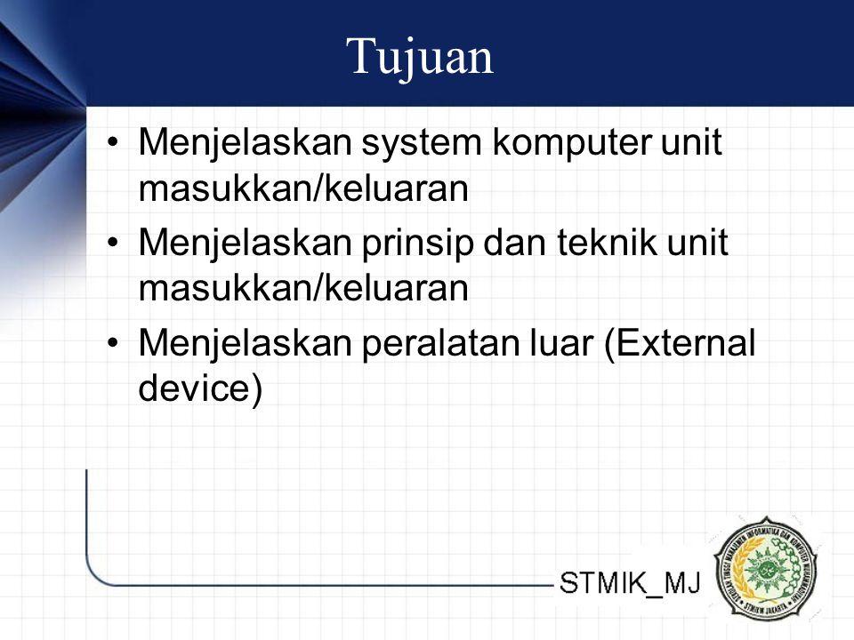 Tujuan Menjelaskan system komputer unit masukkan/keluaran