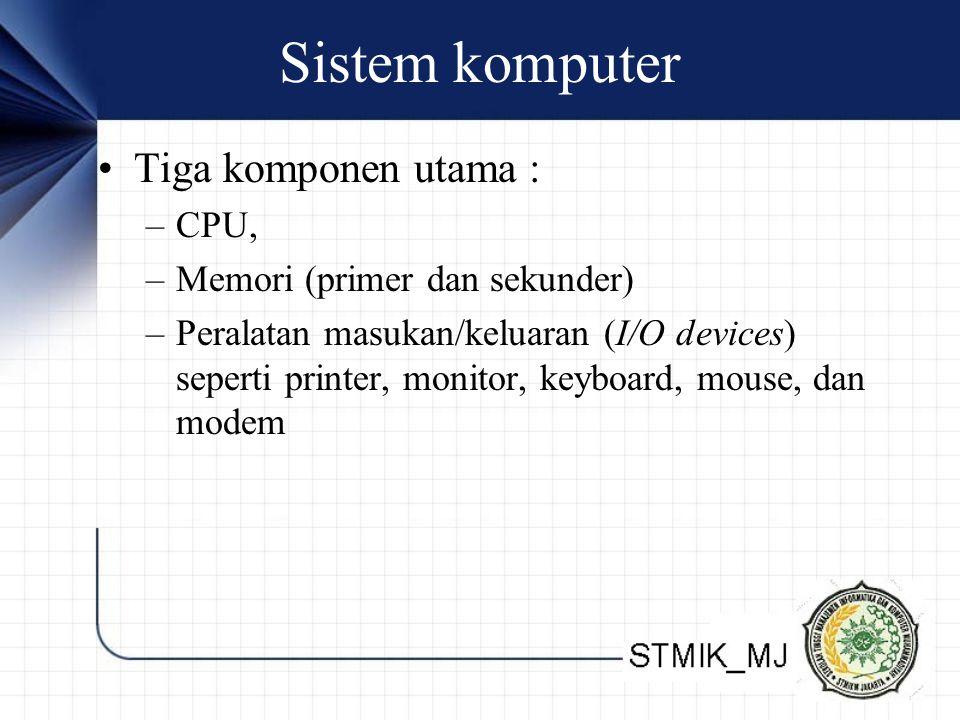 Sistem komputer Tiga komponen utama : CPU,