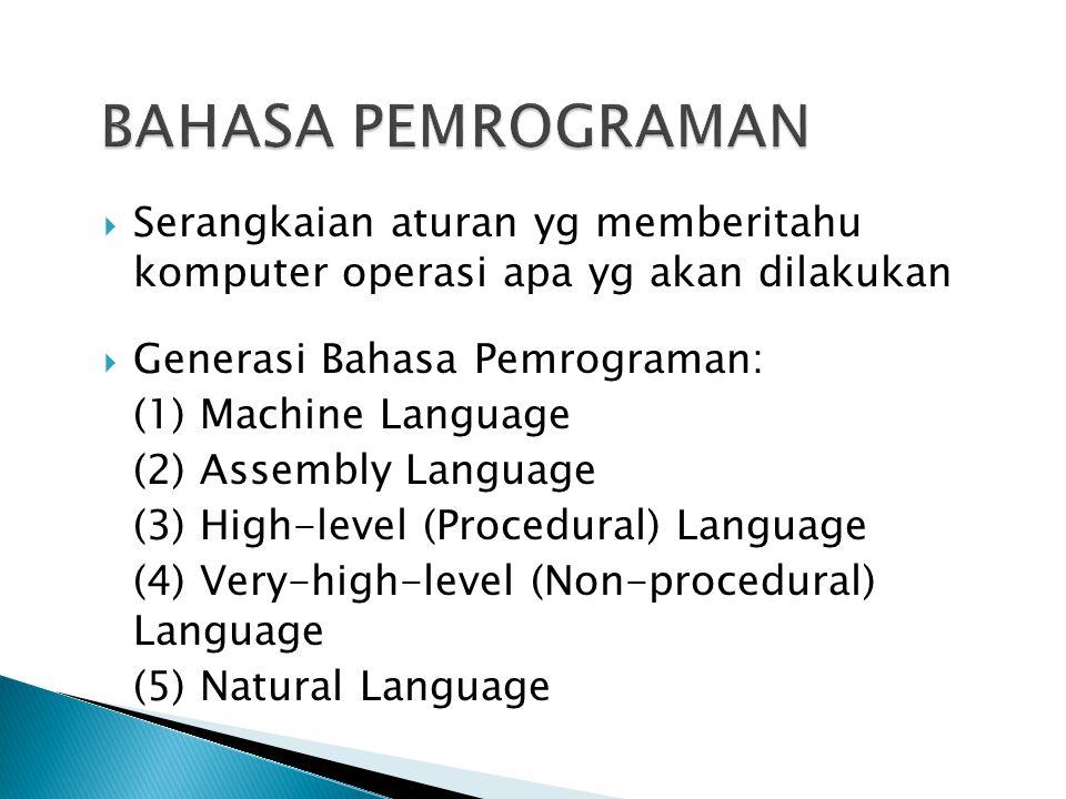 BAHASA PEMROGRAMAN Serangkaian aturan yg memberitahu komputer operasi apa yg akan dilakukan. Generasi Bahasa Pemrograman: