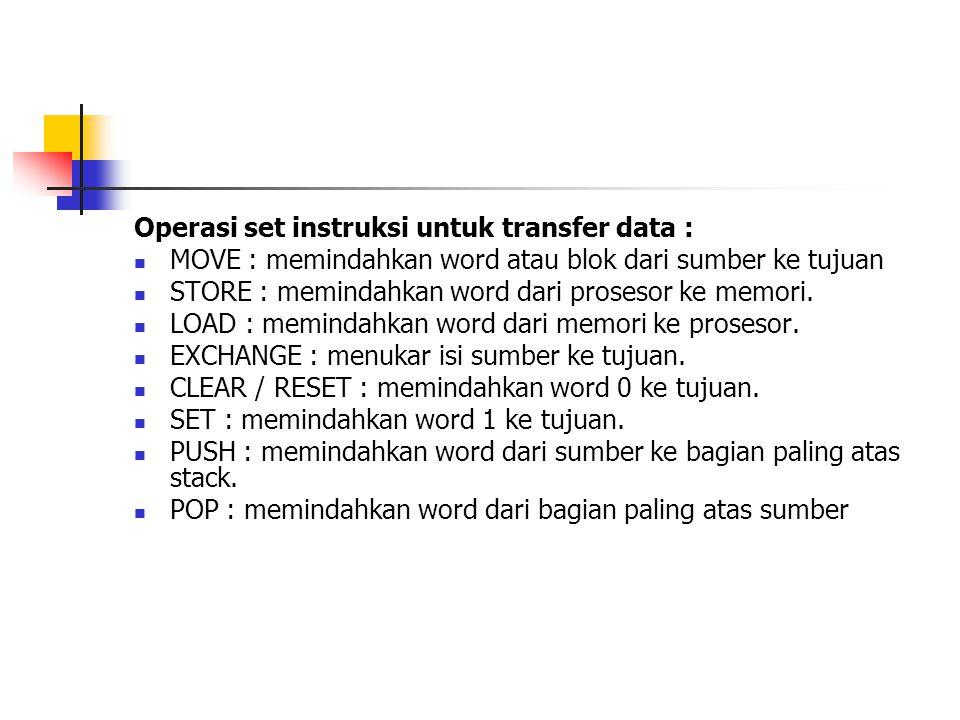 Operasi set instruksi untuk transfer data :