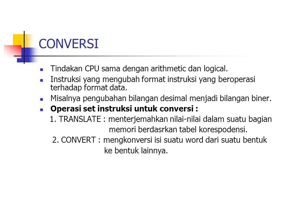 CONVERSI Tindakan CPU sama dengan arithmetic dan logical.