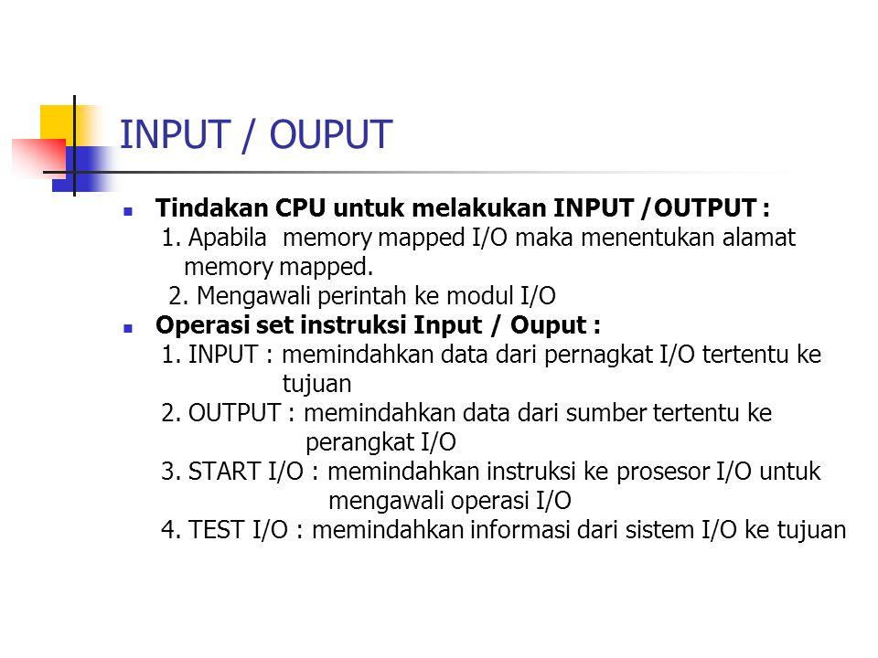 INPUT / OUPUT Tindakan CPU untuk melakukan INPUT /OUTPUT :