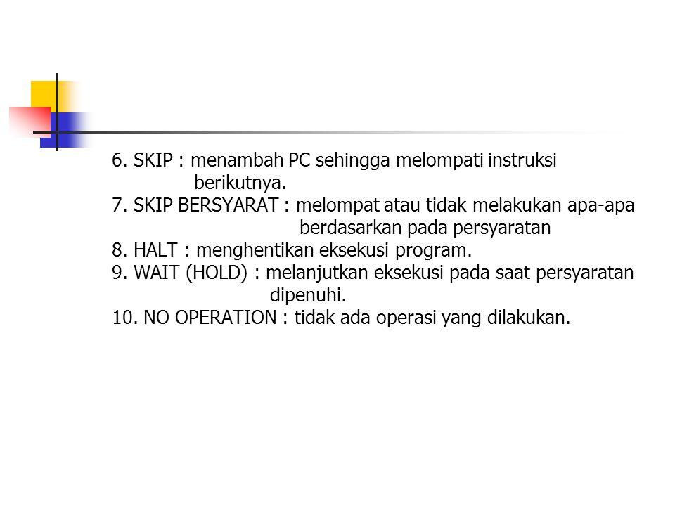 6. SKIP : menambah PC sehingga melompati instruksi