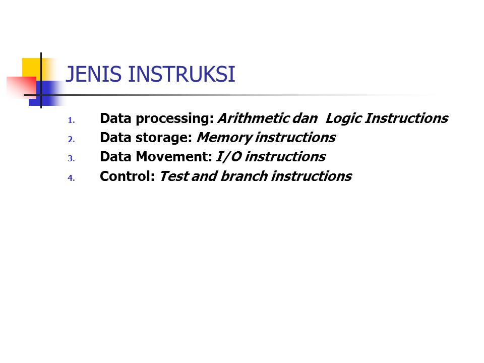 JENIS INSTRUKSI Data processing: Arithmetic dan Logic Instructions