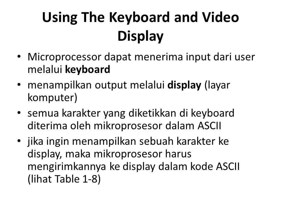 Using The Keyboard and Video Display