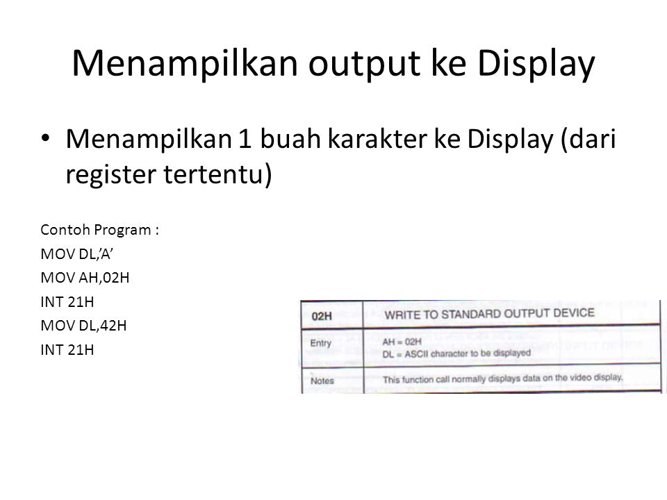 Menampilkan output ke Display