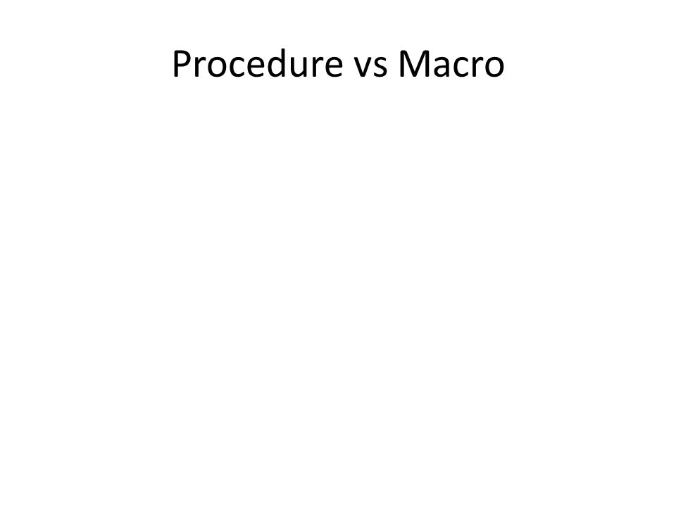 Procedure vs Macro