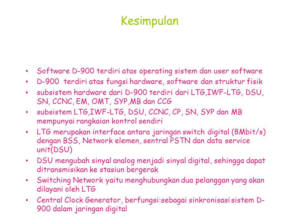 Kesimpulan Software D-900 terdiri atas operating sistem dan user software. D-900 terdiri atas fungsi hardware, software dan struktur fisik.