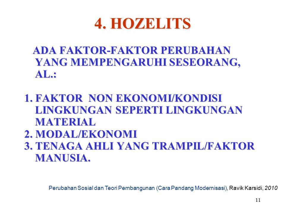 4. HOZELITS ADA FAKTOR-FAKTOR PERUBAHAN YANG MEMPENGARUHI SESEORANG, AL.: 1. FAKTOR NON EKONOMI/KONDISI LINGKUNGAN SEPERTI LINGKUNGAN MATERIAL.