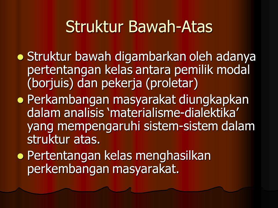 Struktur Bawah-Atas Struktur bawah digambarkan oleh adanya pertentangan kelas antara pemilik modal (borjuis) dan pekerja (proletar)