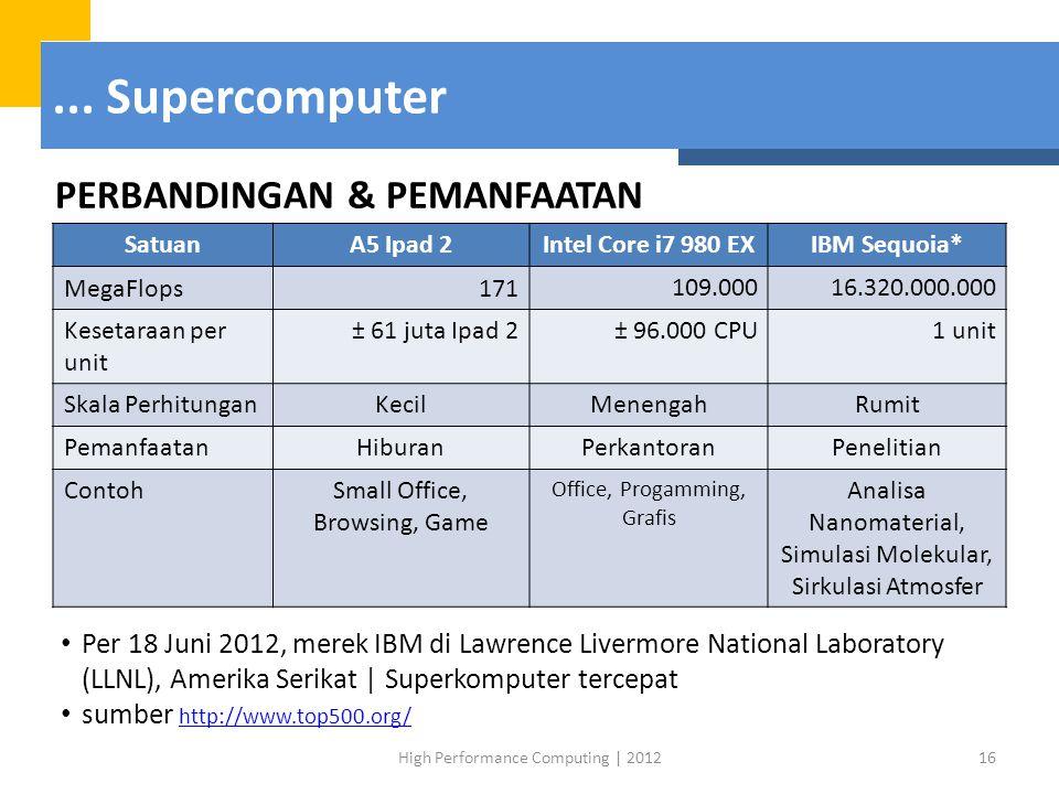 ... Supercomputer PERBANDINGAN & PEMANFAATAN