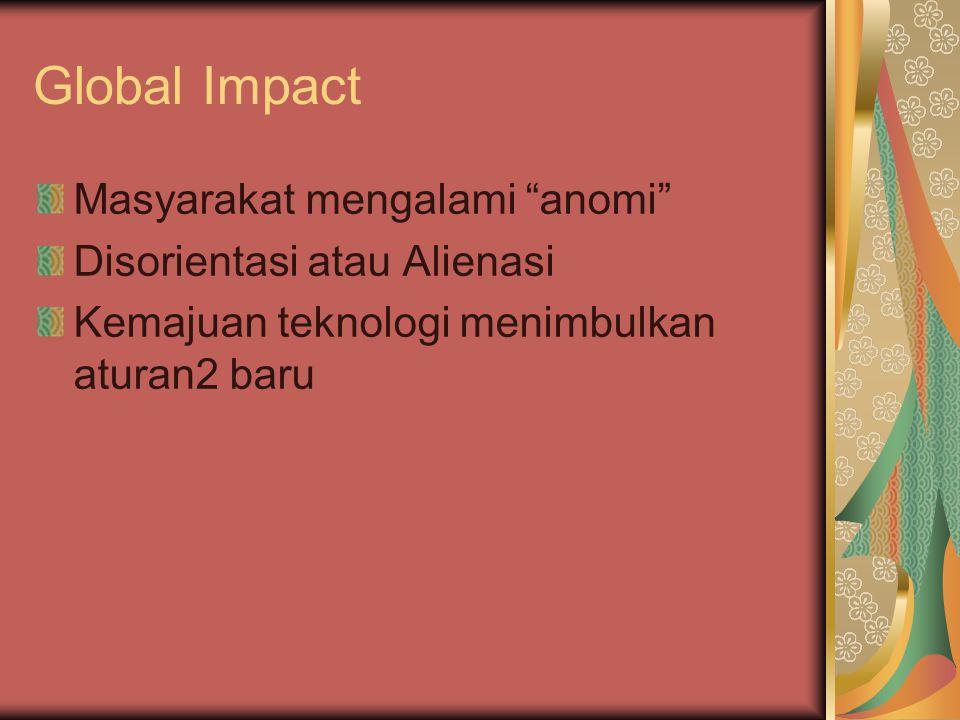 Global Impact Masyarakat mengalami anomi Disorientasi atau Alienasi