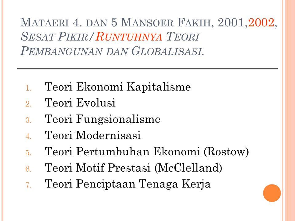Mataeri 4. dan 5 Mansoer Fakih, 2001,2002, Sesat Pikir/Runtuhnya Teori Pembangunan dan Globalisasi.