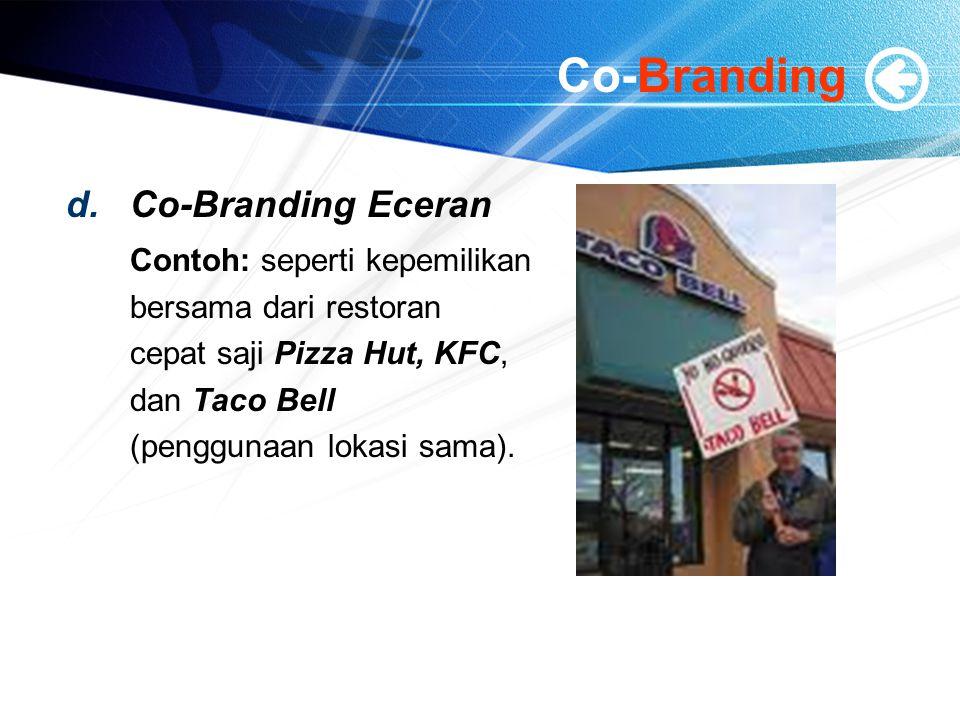 Co-Branding Co-Branding Eceran Contoh: seperti kepemilikan