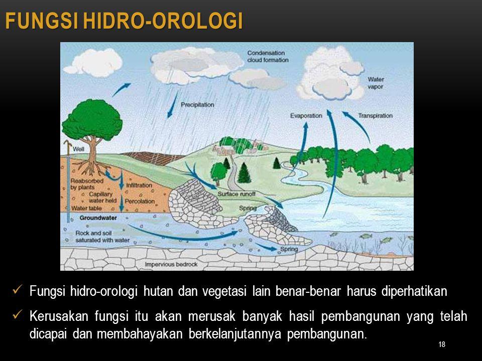 FUNGSI HIDRO-OROLOGI Fungsi hidro-orologi hutan dan vegetasi lain benar-benar harus diperhatikan.