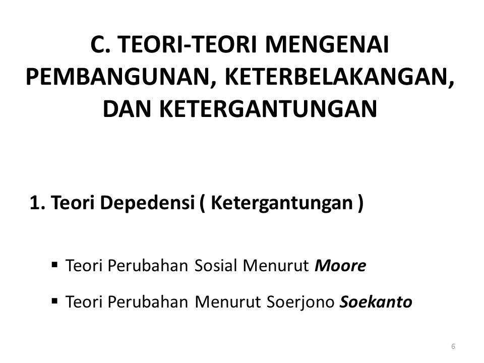 C. TEORI-TEORI MENGENAI PEMBANGUNAN, KETERBELAKANGAN, DAN KETERGANTUNGAN
