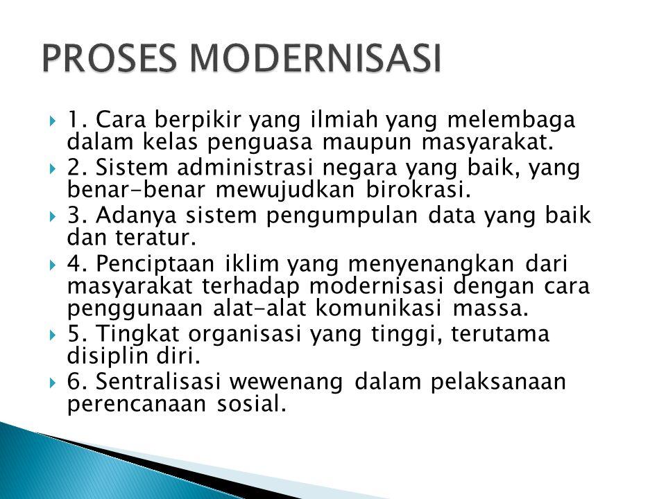 PROSES MODERNISASI 1. Cara berpikir yang ilmiah yang melembaga dalam kelas penguasa maupun masyarakat.