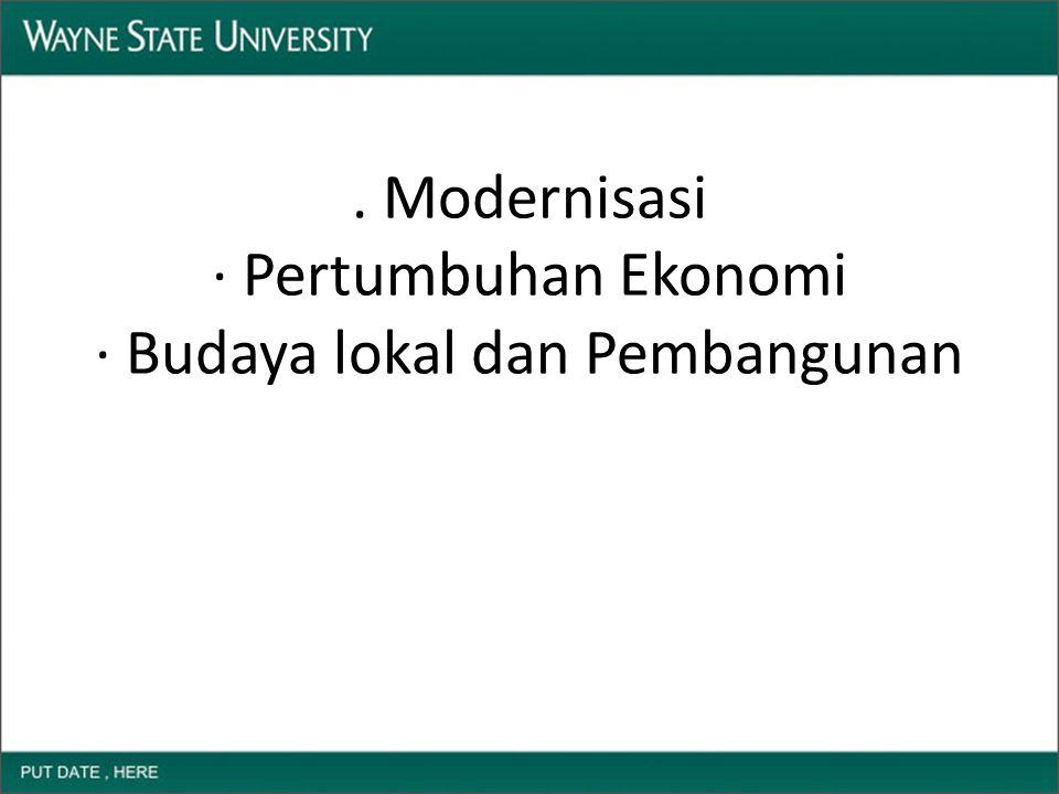 . Modernisasi · Pertumbuhan Ekonomi · Budaya lokal dan Pembangunan
