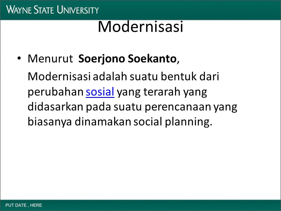 Modernisasi Menurut Soerjono Soekanto,