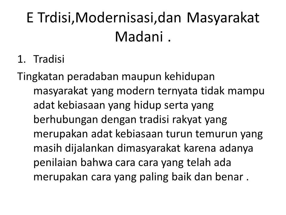 E Trdisi,Modernisasi,dan Masyarakat Madani .